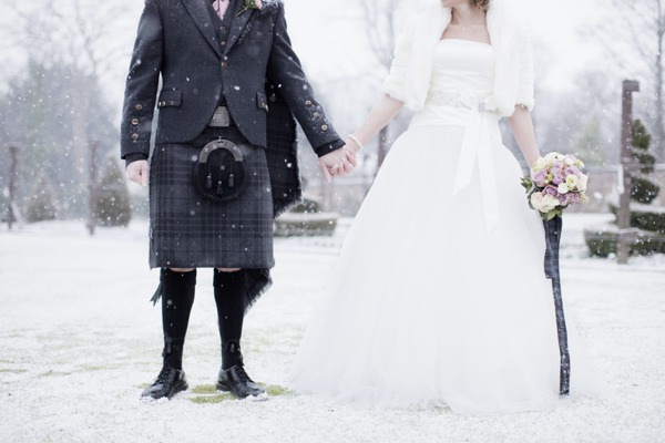 Elaine And Alan Were Lucky Enough To Have Pretty Snow Fall On Their January Wedding At House For An Art Lover Glasgow It Made The Prettiest Of Images