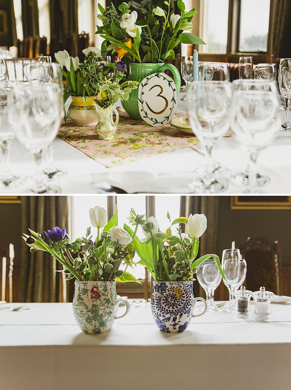 liberty print table centrepieces