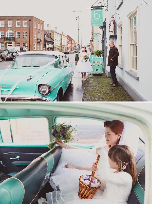 vintage turquose wedding car