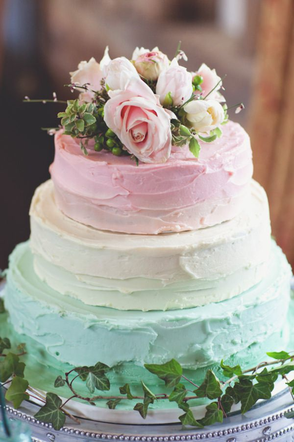 ombre pastel wedding cake rustic