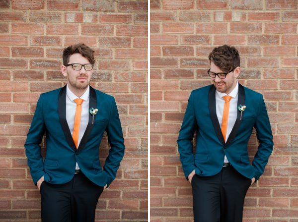 quirky groom orange tie http://www.georgimabee.com/