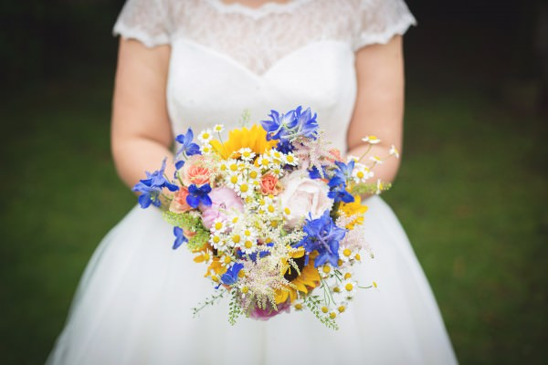 sunflowers, blue delphiniums, peonies, roses, gypsophila, astilbe bouquet http://www.juliaandyou.co.uk/