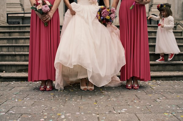 pink bridesmaid dresses Colourful Industrial London Wedding http://www.matthewlongphotography.co.uk/