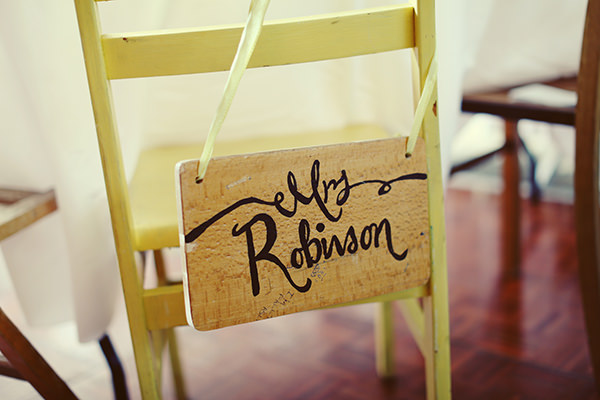 chair back decor Colourful Quirky Summer Garden Wedding http://www.mariafarrelly.com/