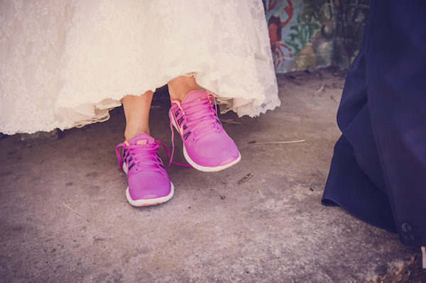 pink trainers bride quirky beach wedding http://www.marcsmithphotography.com/