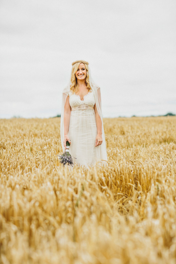 whichgoose flower crown silk veil bride Rustic Patterns & Pastels Wedding http://campbellphotography.co.uk/