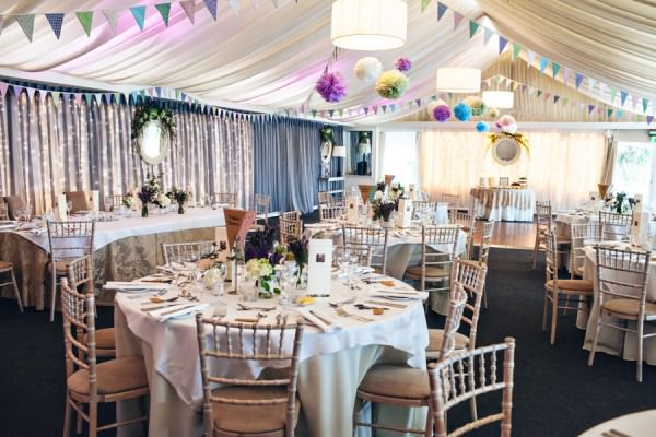 pom poms bunting Rustic Patterns & Pastels Wedding http://campbellphotography.co.uk/