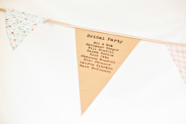 personalised bunting Rustic Patterns & Pastels Wedding http://campbellphotography.co.uk/