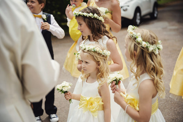 Flower girls flower crowns Bright Tea Party Yellow Wedding http://www.gemmawilliamsphotography.co.uk/