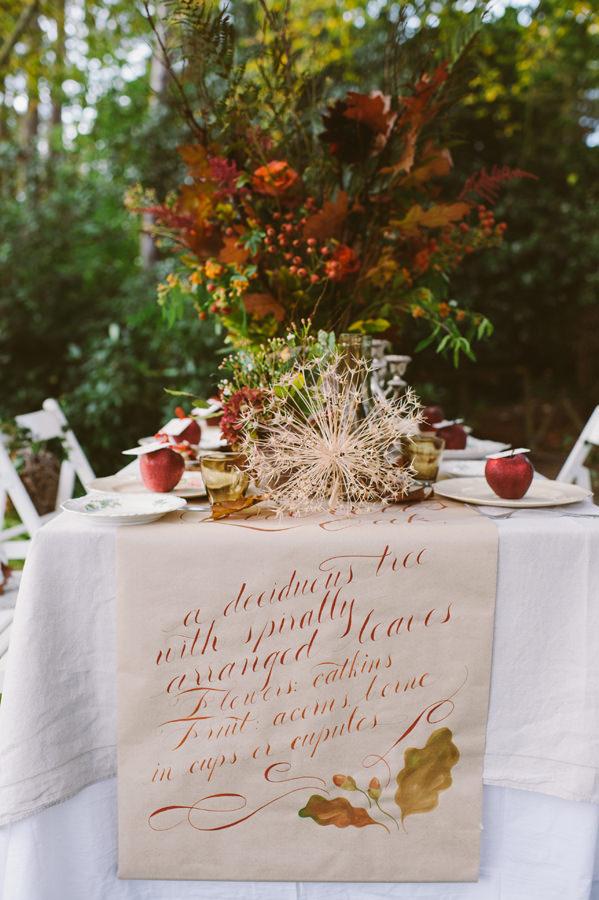Calligraphy Table Cloth Woodland Boho Wedding Ideas http://www.karenflowerphotography.com/