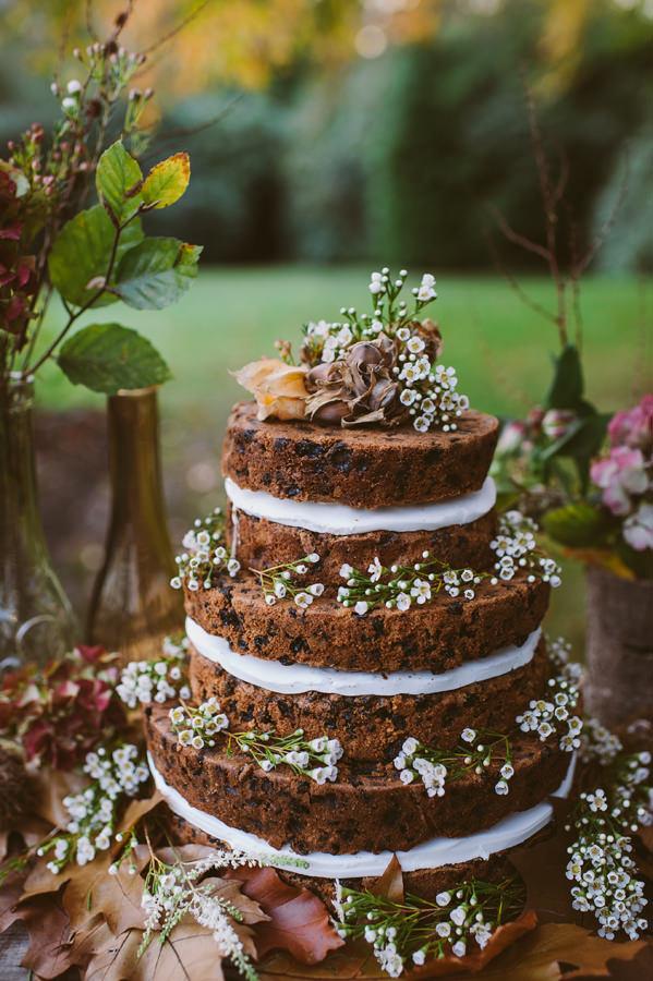 Naked Fruit Cake Wedding Cake Woodland Boho Wedding Ideas http://www.karenflowerphotography.com/
