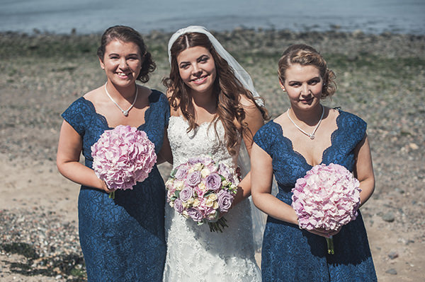 Navy Blue Lace Bridesmaid Dresses Pink & Blue Seaside Wedding http://www.samwilliamsonphoto.co.uk/