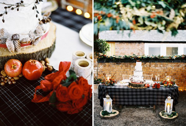 Log Cake Stand Rustic Christmas Wedding Ideas http://www.victoriaphippsphotography.co.uk/