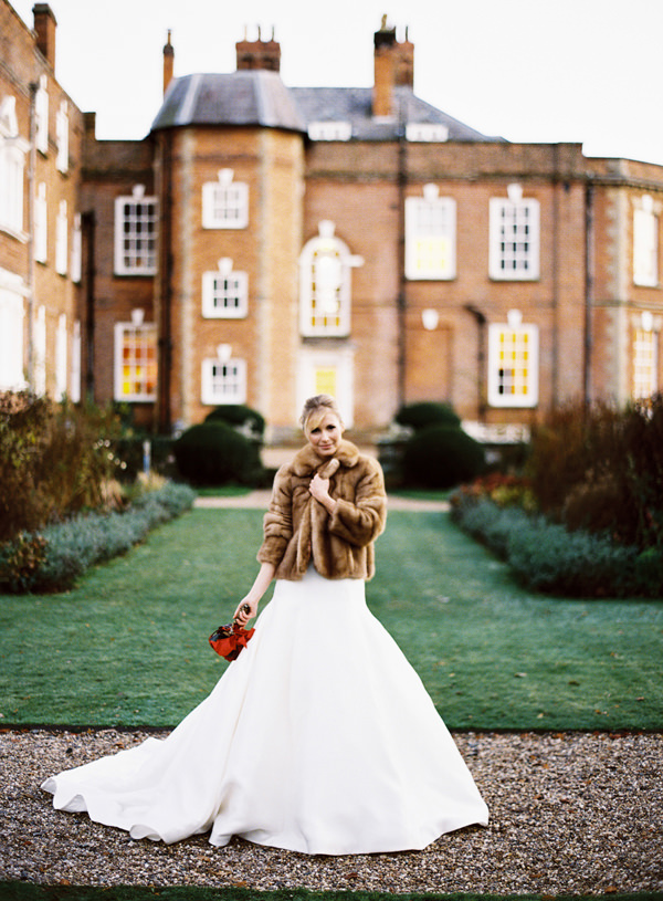 Pronovias Dress Bride Fur Coat Rustic Christmas Wedding Ideas http://www.victoriaphippsphotography.co.uk/