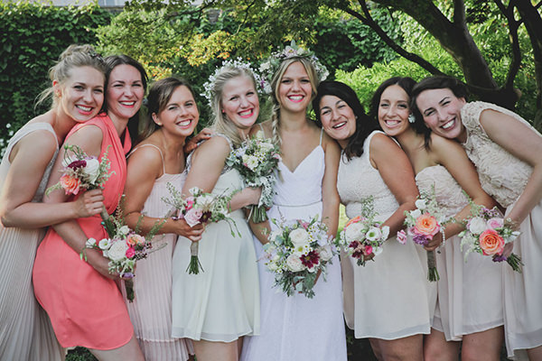 Relaxed Colourful Flower Filled Wedding Mismatched Bridesmaidshttp://www.blissfulwedding.co.uk/
