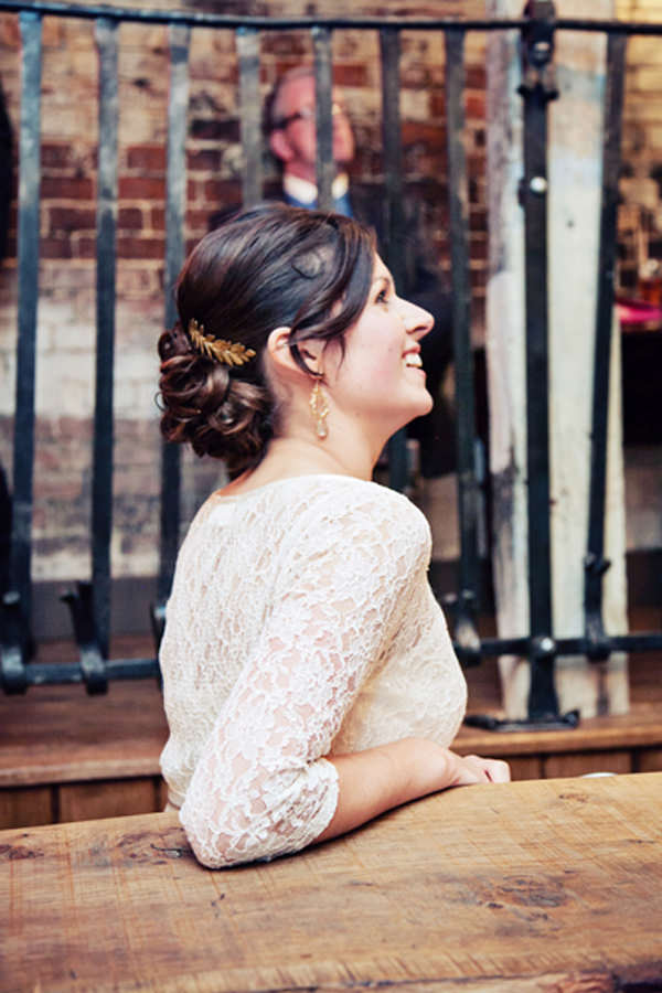 Quirky Pub Wedding Chic Bride Hair Updo http://www.fitzgeraldphotographic.co.uk/