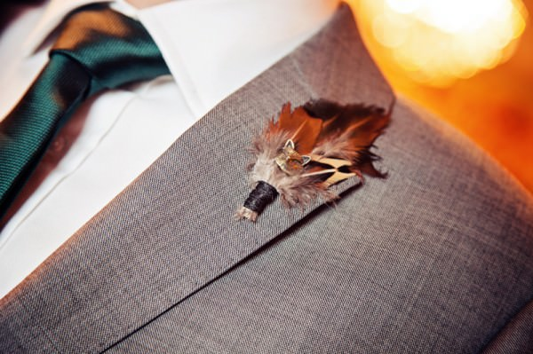 Quirky Pub Wedding Feather Buttonhole http://www.fitzgeraldphotographic.co.uk/