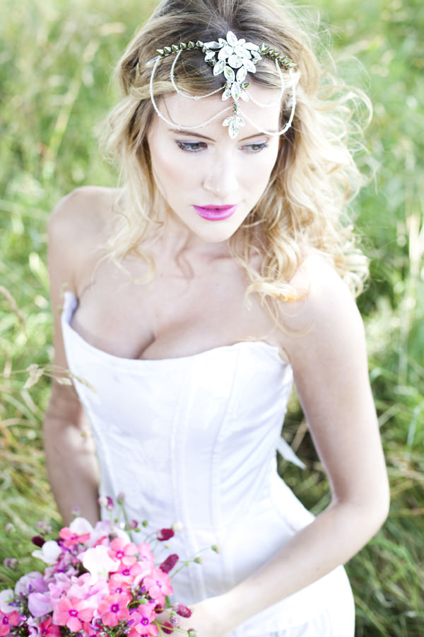 Romantic Pink & Gold Bride Marries Bride Wedding Ideas Pink Lip Curled Hair http://cecelinaphotography.com/