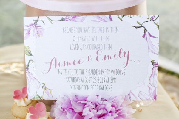 Romantic Pink & Gold Bride Marries Bride Wedding Ideas Stationery http://cecelinaphotography.com/