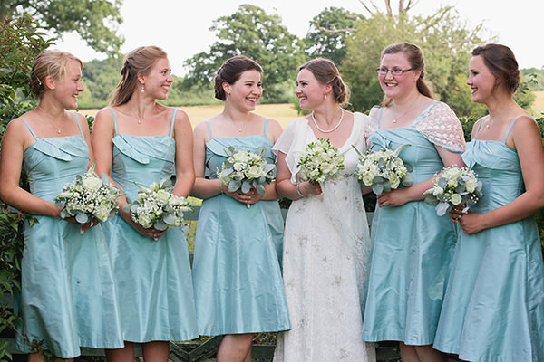 Happy Country Back Garden Wedding Duck Egg Blue Bridesmaid Dresses Coast http://www.samanthawardphotography.co.uk/