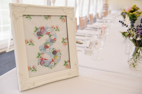 Relaxed Colourful Pretty Wedding Fabric Table Number http://www.daffodilwaves.co.uk/