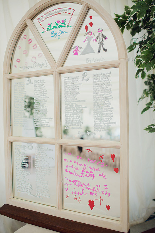 Bohemian Rustic Country Chic Wedding Mirror Seating Plan http://www.lifelinephotography.co.uk/