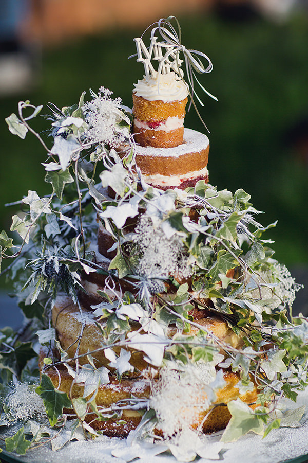 Bohemian Rustic Country Chic Wedding Rustic Naked Cake Ivy http://www.lifelinephotography.co.uk/
