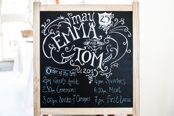 Blackboard Wedding Sign http://www.eleanorjaneweddings.co.uk/