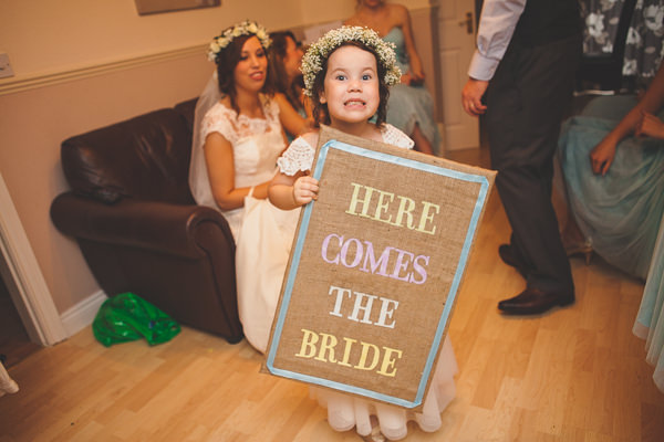 Relaxed Rustic Stylish Wedding Here Comes The Bride Sign http://www.bloomweddings.co.uk/