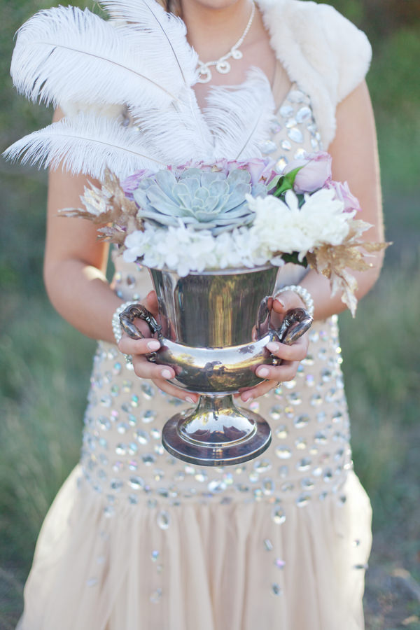 Gold Great Gatsby Wedding Ideas Feather Succulent Flowers http://www.kimbrystudios.com/
