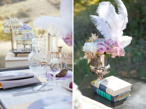 Gold Great Gatsby Wedding Ideas Feather Flowers http://www.kimbrystudios.com/