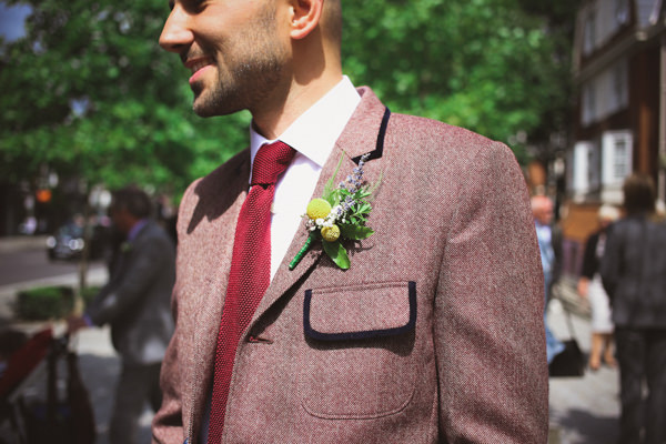 Informal Canal London Museum Wedding Buttonhole Groom http://www.loveohlove.com/
