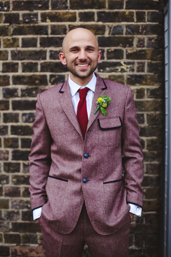 Informal Canal London Museum Wedding Tweed Burgundy Suit Groom http://www.loveohlove.com/