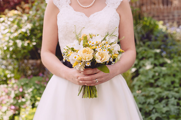 Homemade Natural Outdoor Castle Wedding Yellow Ivory Bridal Bouquet http://www.annapumerphotography.com/