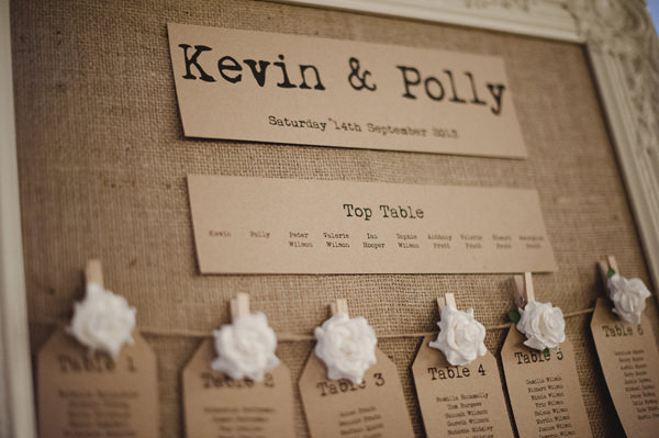 Rustic Stylish Great Fosters Wedding Hessian Luggage Tag Table Plan http://karenflowerphotography.com/