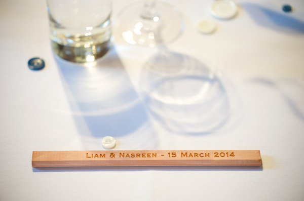 St Pancras London Wedding Personalised Pencil Favours http://www.marriedtomycamera.com/