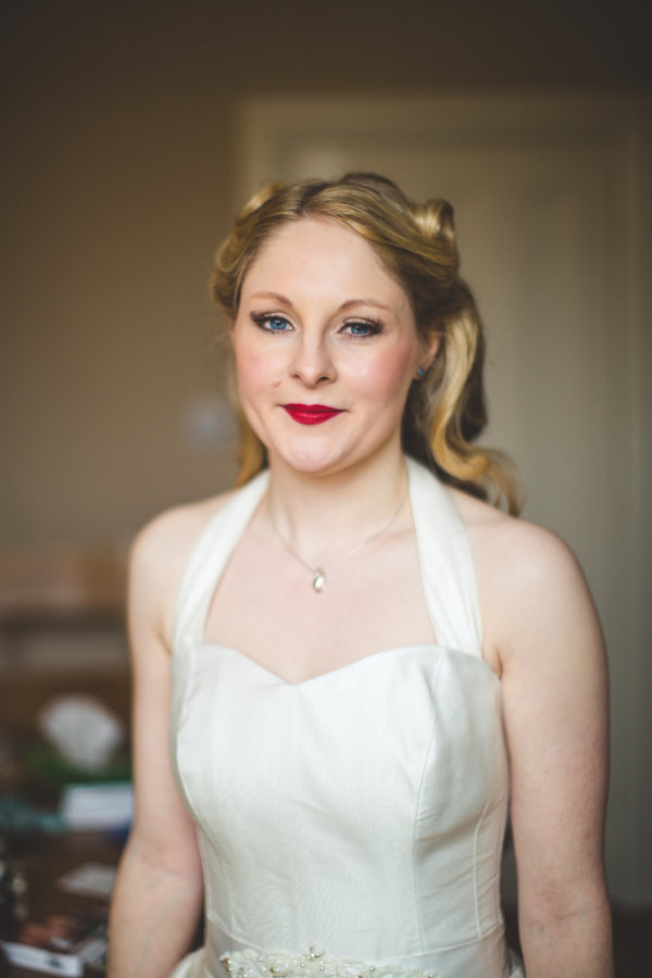 Yellow & Blue Theatre Wedding Vintage Bridal Hair Make Up Red Lips  http://www.s6photography.co.uk/