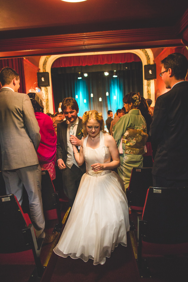 Yellow & Blue Theatre Wedding http://www.s6photography.co.uk/