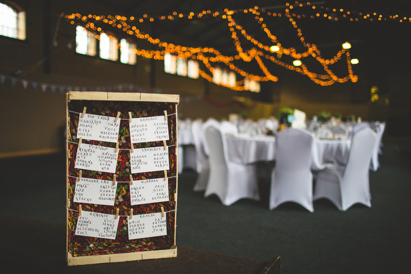 Yellow & Blue Theatre Wedding Crate Table Plan http://www.s6photography.co.uk/