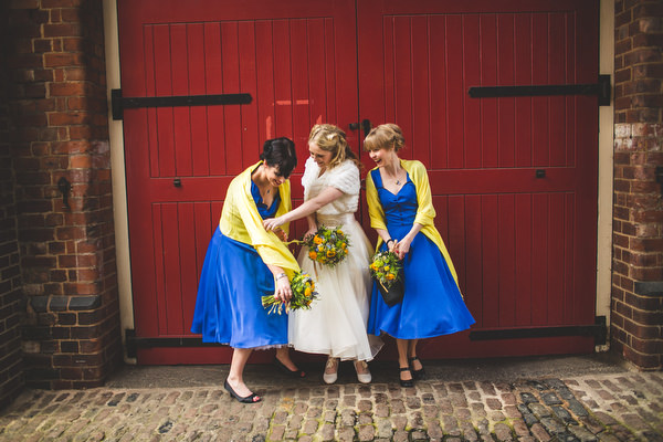 Yellow & Blue Theatre Wedding Blue Yellow Bridesmaid Dresses http://www.s6photography.co.uk/