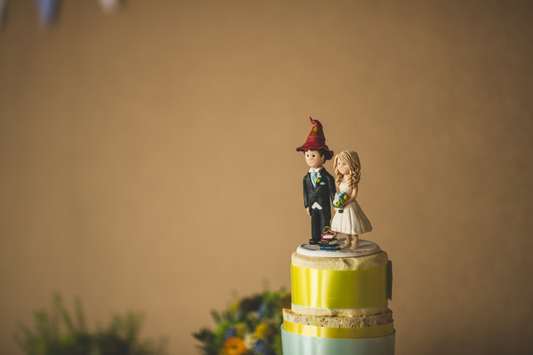 Yellow & Blue Theatre Wedding Cake Toppers http://www.s6photography.co.uk/