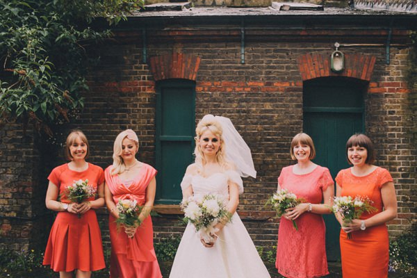 Cinema Museum London Wedding Orange Bridesmaids Morl Lee Dress Bride http://luciusfoxphotography.com/blog/