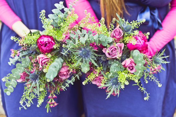 Woodland Tipi Glamping Wedding Bridesmaid Bouquets Blue Pink  http://www.carlybevan.co.uk/