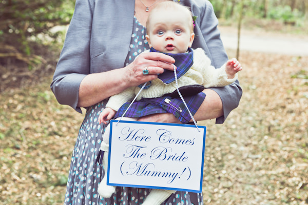 Woodland Tipi Glamping Wedding Here Comes the Bride Sign Mummy http://www.carlybevan.co.uk/