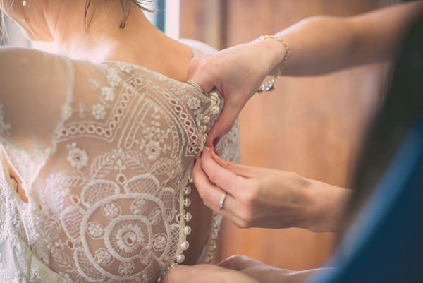 Country Vintage Homemade Wedding Lace Back Dress Buttons Bride http://www.sophieduckworthphotography.com/