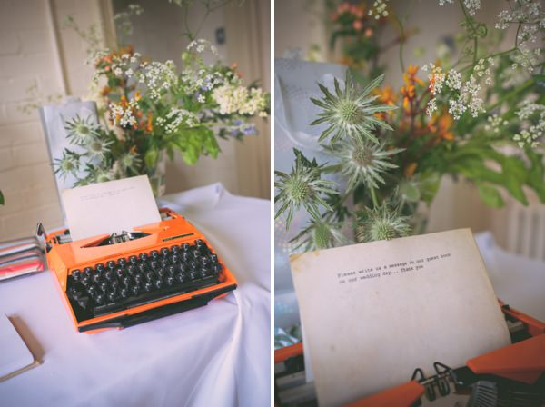 Country Vintage Homemade Wedding Typewriter Guest Book http://www.sophieduckworthphotography.com/