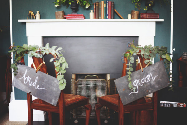 Opulent 1930s Country Manor Wedding Ideas Chalk Board Chair Signs Foliage http://cargocollective.com/darinastoda