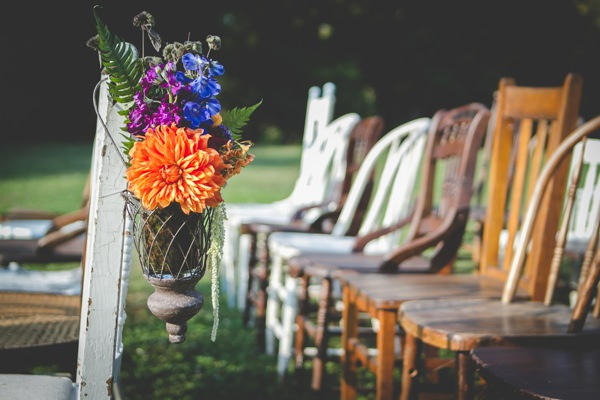 Fun Green House Pennsylvania Wedding Flowers Aisle Mismatched Vintage Chairs http://www.bgproonline.com/