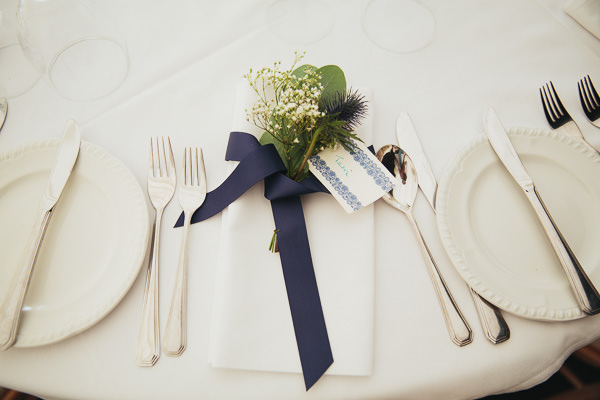 Ribbon Flower Place Name Setting Wedding http://www.redonblonde.com/