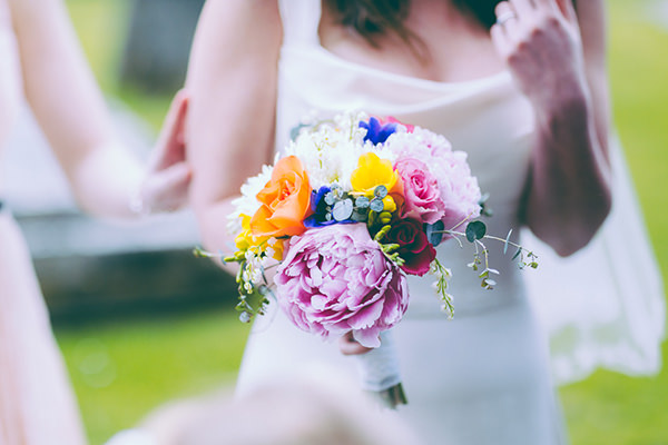 Eclectic Colourful Quirky Village Hall Wedding Multicoloured Homegrown DIY Bridal Bouquet Peony http://missgen.com/